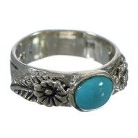 Southwest Authentic Sterling Silver And Turquoise Flower Ring Size 8 YX90694