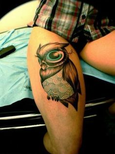 Cartoon Owl Tattoos | Cartoon Owl Bird Tattoo on Thigh