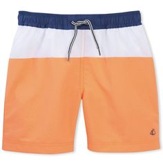 Tri-color swimshorts swimshort, pull-on style with draw strings. Has mesh lining and a back pocket that closes with a flap.  Quick-Dry Mesh Lining Back Pocket Petit Bateau Logo 100% Polyamide