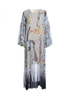 Young+British+Designers:+DUSK+MAXI+DRESS+in+Rainbow+Trout+Print+by+Klements+-+This+dress+is+the+show-stopping+piece+from+the+standout+'Cult+of+Nature'+collection+by+Klements.+It's+a+romantic,+swirling+dream+of+a+dress+depicting+the+glorious+Rainbow+Trout+design+on+a+background+of+duck+egg+blue.+Ethereal+and+unforgettable.++
