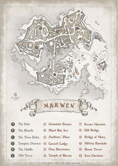 Marven - RPG project commission © M.PLASSE 2015 map cartography | Create your own roleplaying game material w/ RPG Bard: www.rpgbard.com | Writing inspiration for Dungeons and Dragons DND D&D Pathfinder PFRPG Warhammer 40k Star Wars Shadowrun Call of Cthulhu Lord of the Rings LoTR + d20 fantasy science fiction scifi horror design | Not Trusty Sword art: click artwork for source