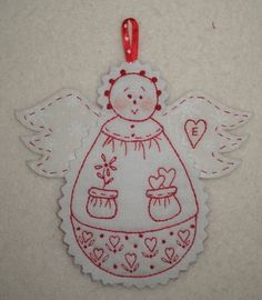 Red Work Angel Ornament