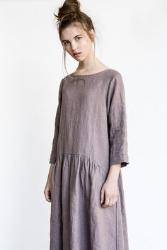 Linen dress with sleeves and DROP SIDES / Washed and soft