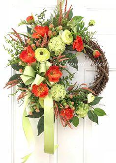 Summer Wreath. Orange and Lime Floral. Poppy Wreath. Summer Door Wreath. Summer Decor. Cottage Wreath. Orange Wreath.