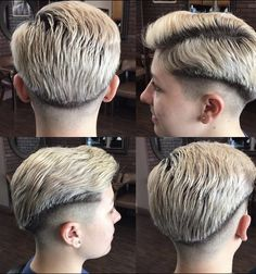 Shaved Nape, Shaved Sides, Bald Fade, Girls Short Haircuts, Haircuts For Men, Undercut Hairstyles, Undercut Pompadour, Short Hair Cuts, Short Hair Styles