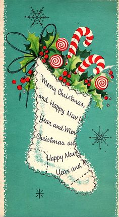merry christmas cards - New Year Vintage Christmas Images, Old Christmas, Retro Christmas, Christmas Pictures, Christmas Stockings, Vintage Holiday, Christmas Fashion, Antique Christmas, Vintage Gifts