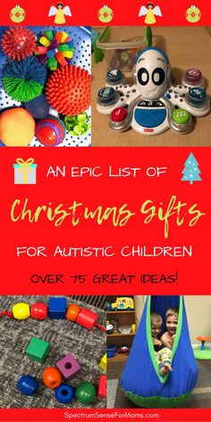 These are great ideas for Christmas gifts! Toys for autistic children of all ages and developmental levels! There are lots of sensory toys and other great gifts for kids with autism! #autism #autismawareness #sensorytoys #autismmom #merrychristmas