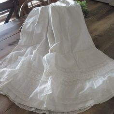 Ivory cotton, not fine batiste, just farmhouse style. Rows of Lace PRETTY Antique Petticoat Skirt A pretty petticoat skirt with lace trim. Victorian Farmhouse, Farmhouse Style, Antique Clothing, Lace Trim, The Row, Antiques, Wedding Dresses, Pretty, Skirts