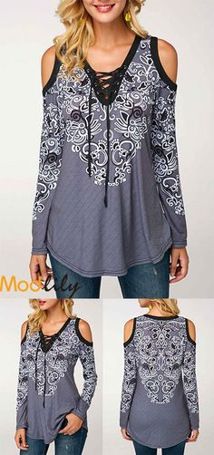 Cold Shoulder Printed Lace Up Front Blouse On Sale At Modlily. Free shipping and cheap. Action now.