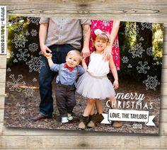 Printable Christmas Card // 5x7 Snowflake overlay by TheMombot, $17.00