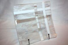 Large Square Fused Glass Platter White Swirl by DancingSunArt, $60.00