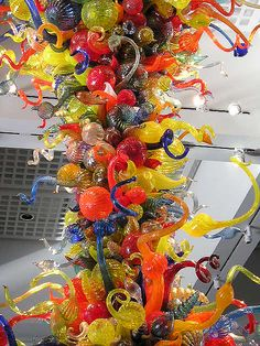 Chihuly's chandelier at the Wichita, Kansas Art Museum. Amazing!!