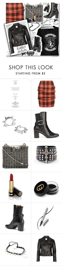 """""""Cool-Girl Style: Leather Jackets"""" by octobermaze ❤ liked on Polyvore featuring PAM, StyleNanda, Vivienne Westwood Anglomania, Maria Francesca Pepe, Gucci, Paco Rabanne, Trend Cool, Chantecaille, Kate Spade and McGinn"""