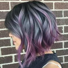 50 Purple Hair Color Ideas for Brunettes You Will Love in Purple hair color ideas for brunettes is in, ladies! When work comes to hair color ideas which can truly flatter any skin tone, purple hair colors are. Inverted Bob Hairstyles, Bob Haircuts, Choppy Bob Hairstyles For Fine Hair, Haircut Bob, Hair Color Purple, Purple Streaks, Dark Purple, Silver Purple Hair, Dark Grey