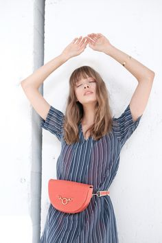 Pinatex Bag in Poppy. Half-moon Convertible Crossbody Belt Bag in Poppy Pinatex. Made with organic cotton and eco-suede (made from recycled plastic bottles). Belt Bags, Recycle Plastic Bottles, Saddle Bags, Poppy, Organic Cotton, Collection, Women, Fashion, Moda