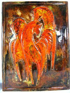 70´s WGP design Ruscha Keramik wall tile horses Wandbild Pferde 969 46 x 34 cm