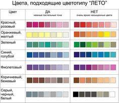 Базовые цвета для цветотипа Лето
