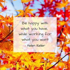 'Be happy with what you have, while working for what you want' - Helen Keller