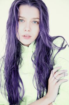 Gorgeous deep purple hair with pastel roots with dark purple tint
