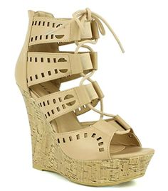 Fahrenheit Cork Wedge Lace up Peep toe Sandal nude sz8 >>> For more information, visit image link.(This is an Amazon affiliate link)