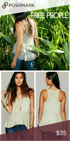 """GET IT TODAY! Free People stripped peplum top """"WE THE FREE"""" Green and white stripped peplum style tank top. Higher in length in the front and longer in the back. Thin and lightweight material!  ***Prestine condition, never worn!***    NWOT Have 2 sizes! SMALL AND X-SMALL Free People Tops Tank Tops"""