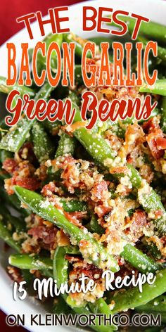 Side Dish Recipes, Vegetable Recipes, Garlic Green Beans, Baked Green Beans, Cooking Recipes, Healthy Recipes, Kitchen Recipes, Healthy Food, Green Bean Recipes
