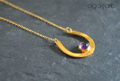 Amethyst Necklace Horseshoe Pendant February birthstone by OlgaMaria Jewel Inspirations Amethyst Necklace, Pendant Necklace, Delicate Jewelry, Unique Jewelry, Lucky Horseshoe, Birthstones, Trending Outfits, Jewels, Handmade Gifts
