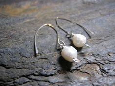 Fresh Water Pearl Sterling Silver Earrings by Blackberrygardens, $20.00