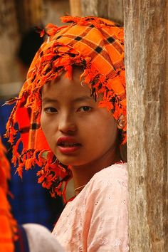 Girl with a scarf on the head, Lake Inle, Myanmar