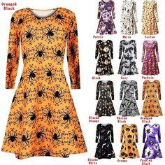 8a69209652e New Women Ladies Long Sleeve Halloween Prints Swing Skull Web Pumpkin  Skater Halloween Dress Plus Size