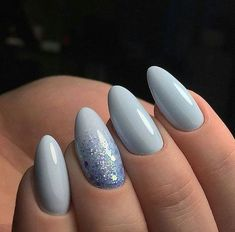 56 Must-Try Trendy and Gorgeous Light Blue, Sky Blue Nails Designs in Fall and Winter - Ongles 02 Cute Spring Nails, Spring Nail Art, Cute Nails, Faux Ongles Gel, Light Blue Nails, Gray Nails, Grey Acrylic Nails, Halloween Nails, Winter Nails