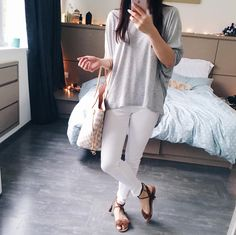Luxy Theory | Laid back casual chic outfits basic essentials Louis Vuitton neverfull travel outfit ideas Lv Handbags, Fashion Essentials, Louis Vuitton Neverfull, Chic Outfits, Casual Chic, White Jeans, Personal Style, Luxury Fashion, My Style