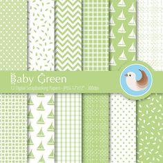 Green Digital Paper Set  Green and White Digital by CinnamonDove