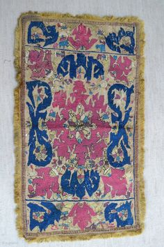 """Ottoman period Algerian silk embroidered section of the end of a sash or stole.  18th cent  Size 67 cm / 26 """" x 38 cm / 15 Back and fringes probably 19th cent Post  ..."""