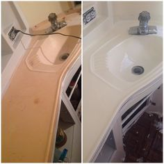 Rustoleum Marine Topside paint - made my 1967 airstream bathroom look brand new!! It is self correcting - no brush marks. It's like I have a brand new bathroom.