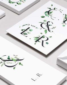 wedding invitation inspiration   invite ideas   minimalist invitations   botanical + floral graphics   venamour stationery   v/ stylecaster  