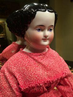 19TH CENTURY ANTIQUE CHINA DOLL HEAD RARE KINTZBACK HANDS SPUN COTTON CRADLE BED