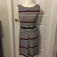 Laundry by Design dress Worn only a few times. Side zipper. Machine wash. Red, black, & white stripe. Excellent condition. Laundry  Dresses