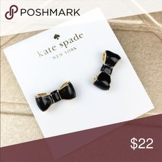 NEW! Kate Spade Black bow gold earrings Adorable stud earrings never been worn nwt! kate spade Jewelry Earrings