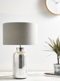Ulrica large table lamp - Table Lamps - Home, Lighting & Furniture - BHS £56 Cheap Table Lamps, Large Table Lamps, Table Lamps For Bedroom, Bedside Table Lamps, Console Tables, Bedside Lighting, Flat Ideas, Fabric Shades, Glass Table