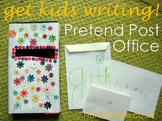 This might entertain them at work for a little bit! pretend play post office: great ideas for swapping letters with your kids and making writing FUN! Preschool Literacy, Literacy Activities, In Kindergarten, Activities For Kids, Preschool Jobs, Creative Activities, Learning Through Play, Kids Learning, Teaching Kids