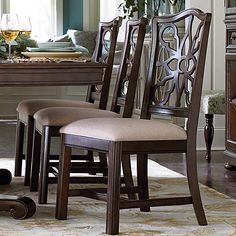 """Love this Charleston style. It's a Moultrie Park Pierced Back Side Chair in a Dark Rum finish at D Noblin Furniture...Inspired by Charleston """"Finds"""" from the famous antique shops on King Street, as well as the local Auction houses, Moultrie Park speaks to a traditional lifestyle with a casual twist."""