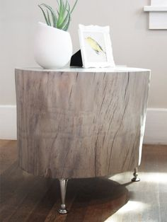 This Cottonwood tree once towered about 100 feet high in front of our 100 year old home until a neighborhood-wide tree removal, ordered by the local utility company, had this gorgeous specimen next in line for the shredder. Stump sits atop 3 adjustable brushed nickel legs, creating a sturdy functional furniture piece. With its natural rustic charm and sleek legs, this fella would look great anywhere, from an industrial urban loft, to a quaint New England cottage. Use this versatile piece as…