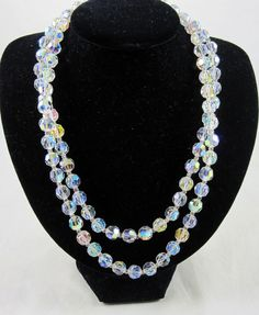 Marvella Austrian Crystal Vintage Necklace 2 Strand 19 and 21 Inches