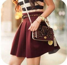 Leopard cross over maroon skirt and striped shirt cute combo