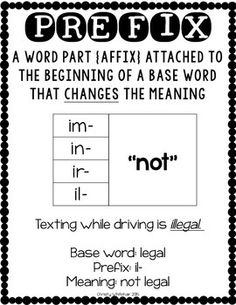 PREFIX POWER: IM-, IN-, IR-, IL- - TeachersPayTeachers.com