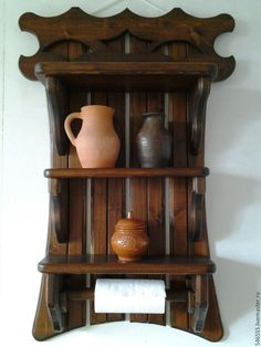 Купить Полка с полотенцедержателем - полка под старину, полка настенная, деревянная мебель, полка интерьерная