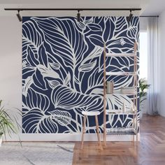 Black White Floral Minimalist Wall Mural by Beautiful Homes - X Navy Walls, Black Walls, White Walls, Ceiling Murals, Mural Wall Art, Bedroom Wall, Home Deco, Wall Design, Decoration