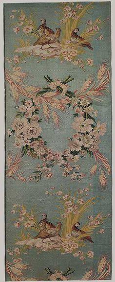 Silk fragment by Philippe de Lasalle (1723-1804): Les Perdrix (The Partridges) 1771-72