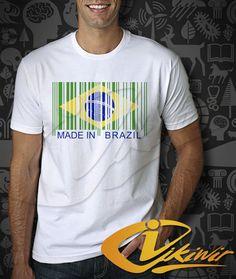 Barcode Made In Brazil Worldcup Men TShirt  Brazil by ICIKIWIR, $16.98